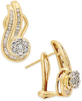 Macy's Diamond Swirl Earrings (3/4 ct. t.w.) in 14k Yellow and White Gold