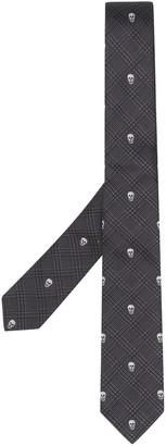 Alexander McQueen Skull-Detail Check-Pattern Tie