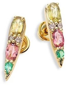 Nikos Koulis Spectrum Tapered Brown Diamond, Tsavorite, Pink Tourmaline & Yellow Beryls Stud Earrings