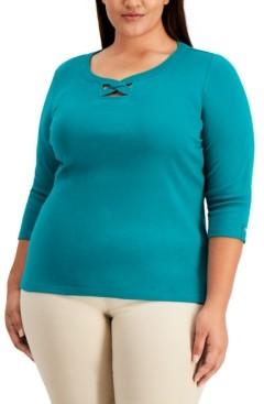 Karen Scott Plus Size Cotton Twisted Scoop-Neck Top, Created for Macy's