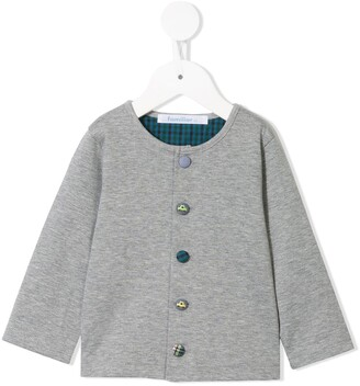 Familiar Contrast Pattern Button Cardigan