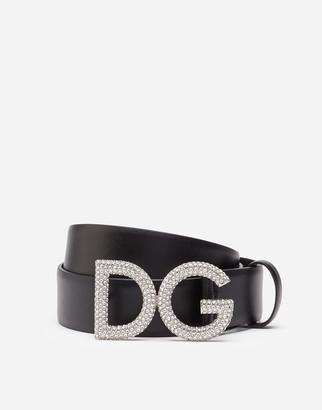 Dolce & Gabbana Calfskin Belt With Rhinestone Logo Buckle