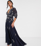 Asos DESIGN Petite maxi dress with linear sequin and floral beading