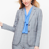 Talbots Springtime Plaid Two Button Blazer