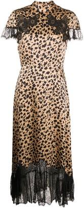Saloni leopard print midi dress