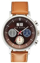 Ted Baker Men's Chronograph Leather Strap Watch, 42Mm