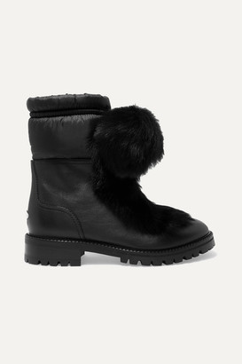 Jimmy Choo Glacie Pompom-embellished Shearling And Shell-trimmed Leather Ankle Boots - Black