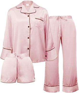 Not Just Pajama Women's 3-Piece Classic Silk Pajamas Set - Pink