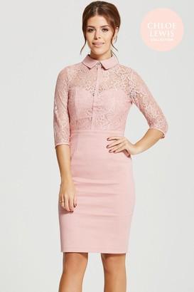 Girls On Film Chloe Lewis Collection Rose Blush Lace Collar Dress