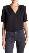 NYDJ Short Sleeve Split Neck Georgette Blouse