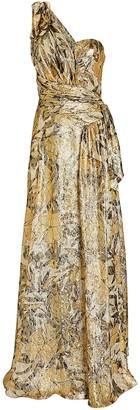 Dundas One-Shoulder Floral Brocade Gown