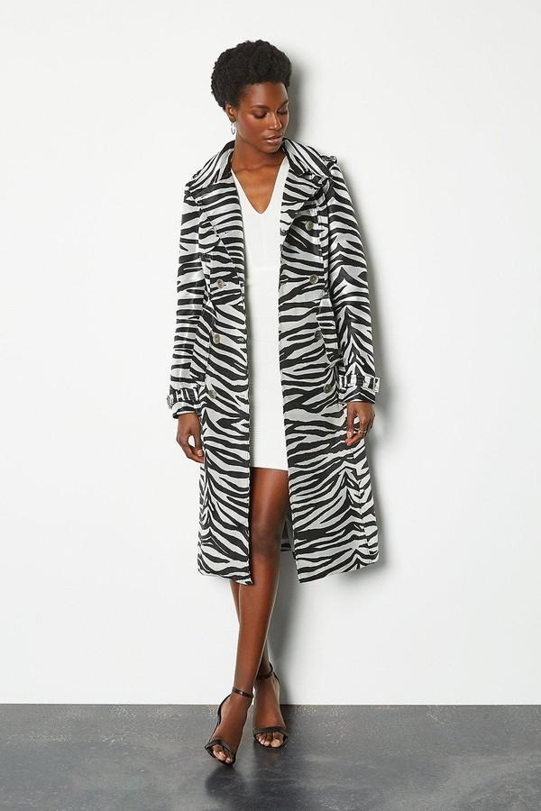 Karen Millen Zebra Belted Trench Coat