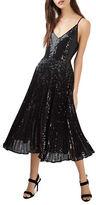 Topshop Sequin Pleated Midi Dress