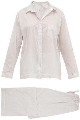 POUR LES FEMMES Eyelet-lace Trim Cotton Lawn Pyjamas - Grey