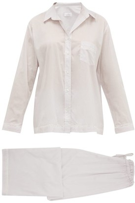 Pour Les Femmes - Eyelet-lace Trim Cotton Lawn Pyjamas - Womens - Grey