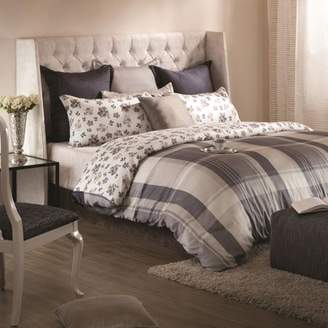 """A1 Home Collections A1HC Madras Reversible Print 100% Organic Cotton Wrinkle Resistant Duvet Cover and Sham Set of 2 with Internal Ties and Button Closure, 88"""" x 92"""", Queen, Black/White"""