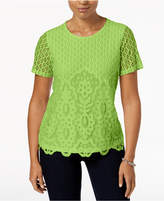 Alfred Dunner In The Limelight Embellished Lace-Contrast Top