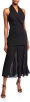 Misha Collection Sammiah Double-Breasted Tuxedo Halter Dress