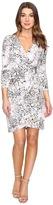 Calvin Klein 3/4 Sleeve Printed Wrap Dress