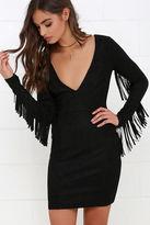 LuLu*s Still Wild Black Suede Fringe Dress