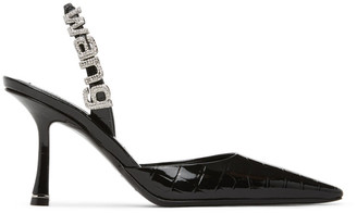 Alexander Wang Black Croc Grace Slingback Heels