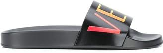 Versace Logo Print Embossed Insole Slides