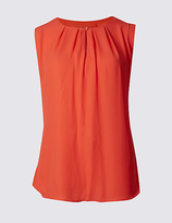 M&S Collection Pleated Round Neck Vest Top