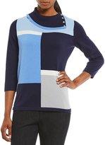 Allison Daley Fold-Over Mock Neck Colorblock Pullover