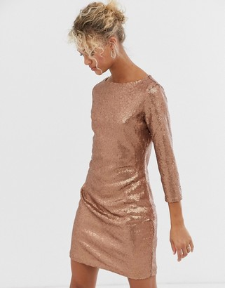 Glamorous sequin bodycon dress in bronze