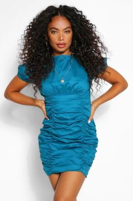 boohoo Petite Cotton Ruched Short Sleeve Mini Dress