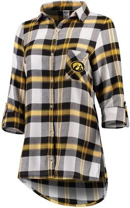 Women's Concepts Sport Black Iowa Hawkeyes Headway Rayon Flannel Shirt