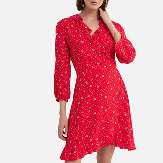 La Redoute Collections Printed Wrap Dress with 3/4 Sleeves