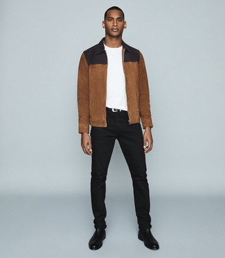 Reiss Redding - Tone-tone Suede Jacket in Tobacco & Navy