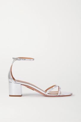 Aquazzura Purist 50 Mirrored-leather Sandals - Silver