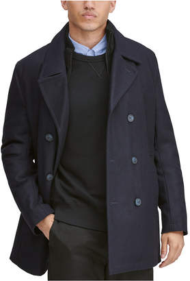 Andrew Marc Men Burnett Double Breasted Peacoat with Inset Knit Bib