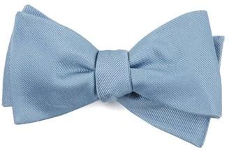 Tie Bar Grosgrain Solid Steel Blue Bow Tie