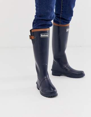 Barbour blyth longline wellies with leather strap details-Navy