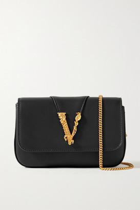 Versace Virtus Embellished Leather Shoulder Bag - Black