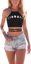 Grace's Secret Women's Cartoon Print Crisscross Lace Up Cropped Halter Top