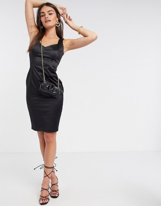 Vesper satin fitted midi dress in black