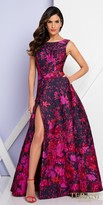 Terani Couture Bateau Open Back Abstract Floral Slit Dress