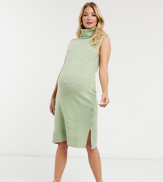 Mama Licious Mamalicious Maternity fine knit dress with roll neck in green