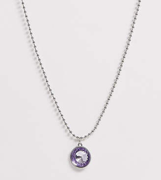 Asos DESIGN Curve necklace with crystal gem pendant and ball chain in silver tone