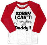 Micro Me White & Red 'I Have Plans With Daddy' Raglan Tee - Toddler & Boys