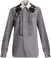 No.21 NO. 21 Embellished-collar gingham cotton shirt