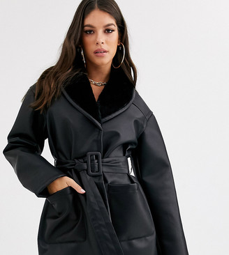 Asos Tall DESIGN Tall luxe leather look wrap over jacket in black