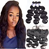7A Virgin Hair Body Wave 3 Bundles With Lace Frontal Closure 13x4 Ear To Ear Frontal With Baby Hair Brazilian Human Hair Extensions(22 22 24 with 18)