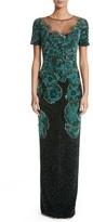 Pamella Roland Women's Floral Sequin Column Gown
