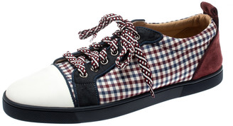 Christian Louboutin Multicolor Fabric Check And Suede Trim Lace Up Low Top Sneakers Size 40.5
