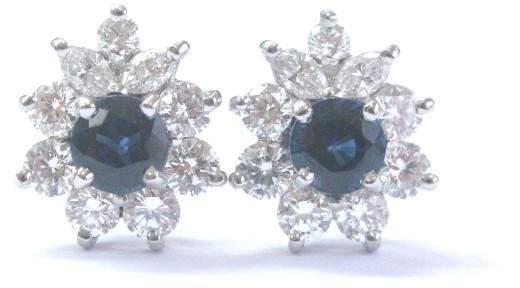 Tiffany & Co. Platinum Blue Sapphire and Diamond Victoria Earrings